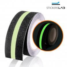 Nastro antiscivolo adesivo fluorescente luminescente da 50mm nero/bianco