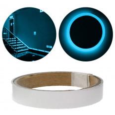 Pellicola nastro adesiva luminescente fosforescente si illumina al buio blue