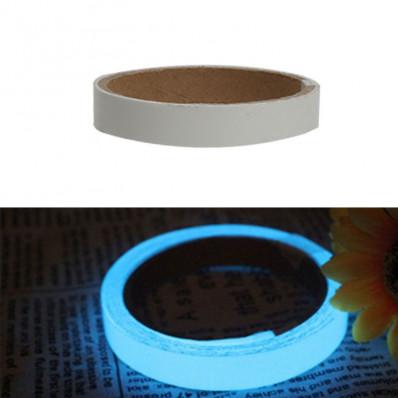 Pellicola nastro adesiva luminescente fosforescente si illumina al buio glow in the dark blu