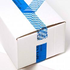 Fita de segurança azul com selo de garantia para empacotamento
