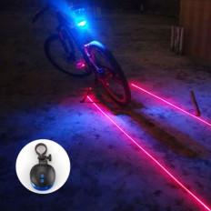 luz LED trasera con la bicicleta 2 laser