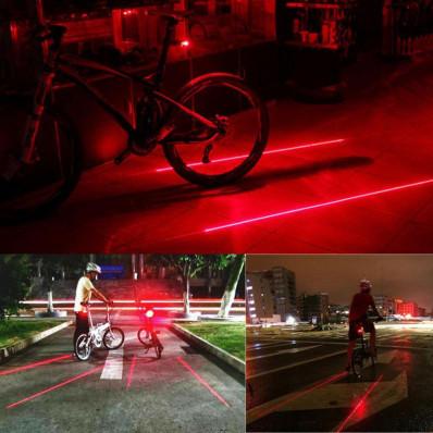 Luce 5 led con 2 laser per bici bicicletta faretto posteriore segnalazione