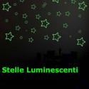 Клей звезды разных размеров люминесцентного свечения в темноте 9 штук