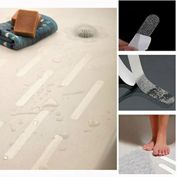 20 bandes adh sives antid rapantes transparentes pour baignoire douche. Black Bedroom Furniture Sets. Home Design Ideas