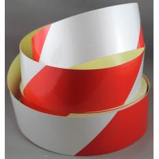 Светоотражающая лента Белая красный сигнал 50 mm(5 см)