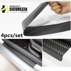 4 adesivi protettivi antigraffio in fibra di carbonio per battitacco portiere auto