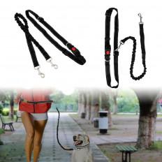Laisse noir réfléchissante pour chiens en longuer de 1,5 m