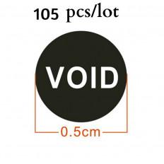 Etiquetas autocolantes pretas com selo de garantia e escrita