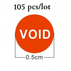 Etiquetas autocolantes laranja com selo de garantia e escrita