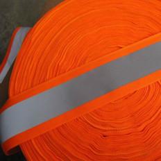Nastro riflettente rifrangente da cucire combinato Arancio fluorescente/grigio 50mm x 2MT