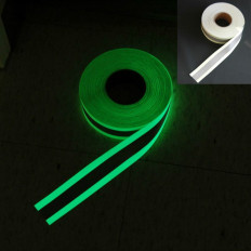 Luminescent sewing tape with reflective band at the center of