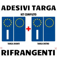 4 pegatinas en vinilo ultra resistente para placa de matricula italiana