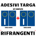 Adesivi per targa italiana kit da 4 pezzi rifrangenti ultra resistente