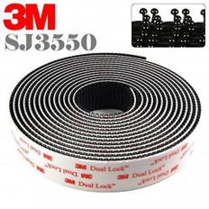 Rolo em velcro adesivo preto Dual Lock da marca 3M™, serie SJ 3550 em varios tamanhos
