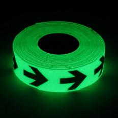 Fita adesiva foto luminescente que brilha no escuro com setas