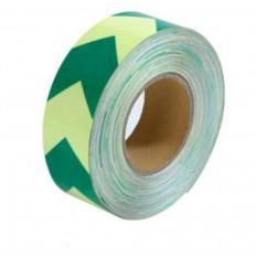 Nastro adesivo segnalazione luminescente da 50mm con chevron verdi