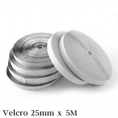 Strisce Velcro adesivo bianco o nero 25mm x 5 Metri