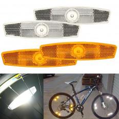 Set riflettore catadiottri omologati per raggi bicicletta Bike in arancio / bianco