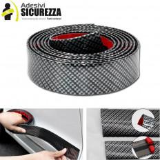 Striscia modello fibra di carbonio in gomma morbida con biadesivo 3M per protezione 30mm x 2,5mt