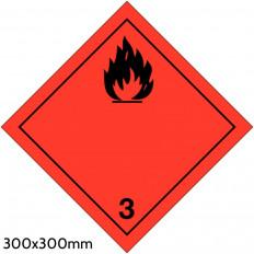 """Etichetta autoadesiva A.D.R classe 3 """"Liquidi Infiammabili"""" 300x300mm"""