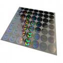 100 Etichette CE (Conformità Europea) adesive sigilli ologrammati di garanzia e sicurezza in oro e argento 20mm diametro