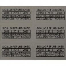 """Etiquetas autocolantes com selo de garantia """"REFURBISHED"""" - 42"""