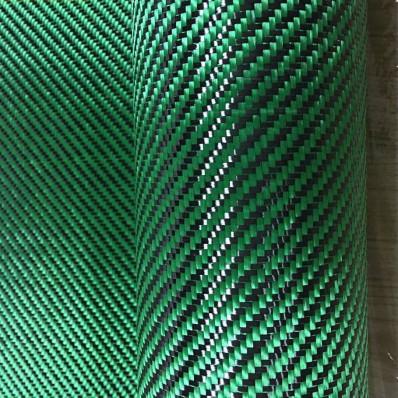 Tessuto ibrido in vera fibra di carbonio e aramide 190 g/m² 3k TWILL verde