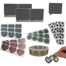 Pegatinas plateadas en PVC para tarjetas rasca y gana en varios tamaños