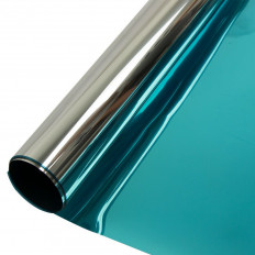 Film adhésif de protection solaire pour vitrage avec effet miroir