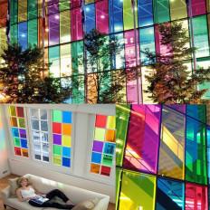 Película adhesiva transparente dicroica dicroica arco iris para ventanas que cambia de color