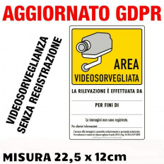 "N°2 Cartelli adesivi ""AREA VIDEOSORVEGLIATA"" vendita online"