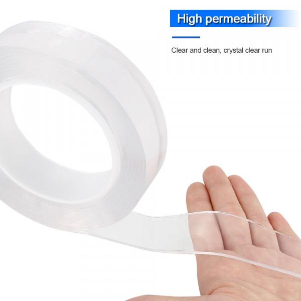 Gebildet Multifunzione Riutilizzabile Nano Tape Anti scivolo Pads per Casa Parete Trasparente Nastro Biadesivo Senza Tracce Camera e Ufficio Lavabile Nastro Adesivo 3cm /× 3m, 2mm Spessore