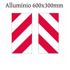 Pannello anteriore e posteriore per delimitazione sagoma riflettenti bianco/rosso trasporto eccezionale