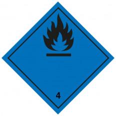 """Etiqueta autoadesiva ou suporte de alumínio, divisão ADR 4.2 para veículos """"Sujeitos a ignição espontânea"""" 300x300mm"""