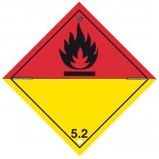 """Etiquette auto-adhésive ou support en aluminium ADR division 4.2 pour véhicules """"Sous condition d'inflammation spontanée"""" 300x3"""
