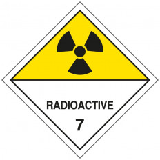 "Self-adhesive label or ADR aluminum support for 7.A division for ""Radioactive Materials Category II"" 300x300mm"