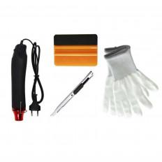 Kit applicazione pellicole car wrapping completo (Spatola 3M™ oro - taglierino - Guanti- Pistola aria calda)