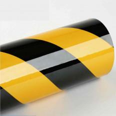 Pellicola adesiva rifrangente giallo/nero a losanghe da 124cm