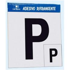 """Contrassegno Adesivo in vinile Rifrangente """"P"""" Principiante, Set di 2 a norma DPR"""