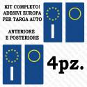 Adesivi per targa Europa per auto kit da 4 pezzi in vinile ultra resistente e omologati