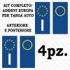 Adesivi per targa Europa per auto kit da 4 pezzi rifrangenti ultra resistenti e omologati
