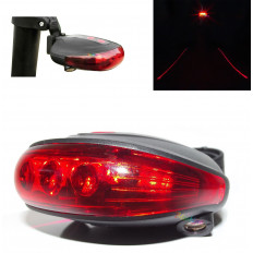 5 led light with 2 laser for bicycle bike rear signal lamp