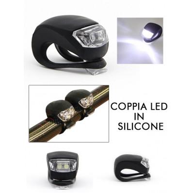 2 luci faretti led bianche in silicone universali per la sicurezza del ciclista
