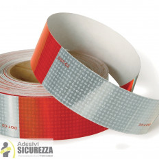 Reflective Red/White hazard warning tape - 50mm