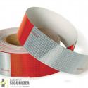 Nastro adesivo retroriflettente rifrangente segnalazione rosso/bianco 50mm classe 2