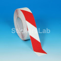 Rayas blanco y rojo de la señal de láminas adhesivas antideslizantes pisos de escaleras exterior 50 mm