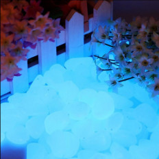 Fluorescent and luminous blue sky resin pebbles glow in the
