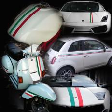 Bande en vinyle drapeau italien pour voiture, scooter et moto en 5 tailles