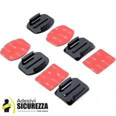 KIT 4 Pezzi Supporti curvi & piatti con Basi 3M ™ adesivi per